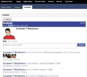 Facebook on websphere portal page
