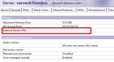 Lotus Traveler Exter Server URL