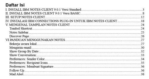 Daftar Isi buku panduan IBM Notes