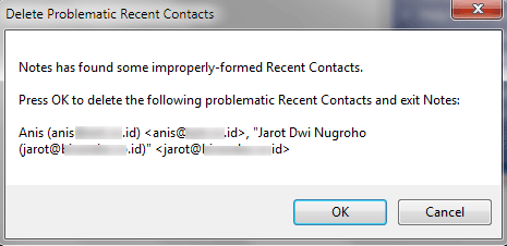 improperly formed recent contacts